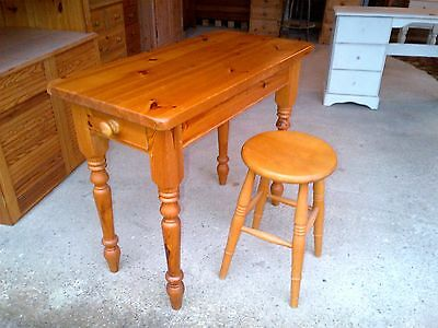 Solid Pine Side Table With Drawer & Stool