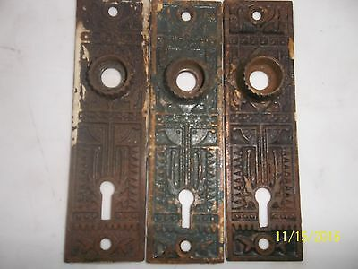 3 Antique Eastlake Brass Door Plates With Key Hole