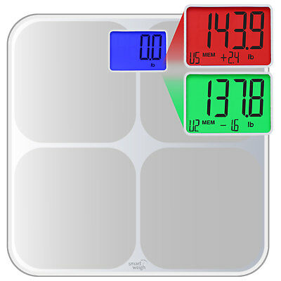 Smart Weigh Digital Bathroom Scale w/ Color Weight Change Detection - Silver