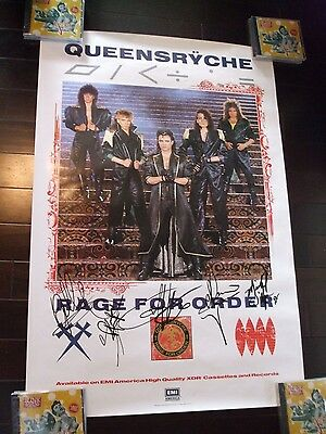 Queensryche Signed By All 5 Original Rage For Order Promo Poster