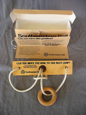 Southwestern Bell Promotional Rope and Ring Wooden Game Puzzle Telecom Vintage