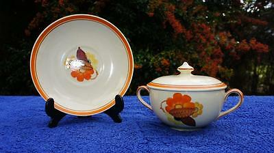 Excellent Gray's Pottery Twin Handled Lidded Soup or Chocolate Cup & Saucer 9650