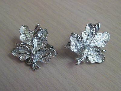 Estate Costume Coro Leaf Textured Silver Tone Clip Earrings