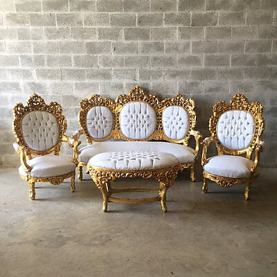 Antique set of sofa and two chairs  in rococo style