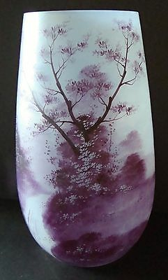 Rare 19th c French Signed SCHNEIDER Acid Etched Icy Glass Vase - Winter Scene
