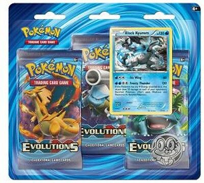 Pokemon XY12 Evolutions 3 Booster Packs Black Kyurem Holographic Card &Coin