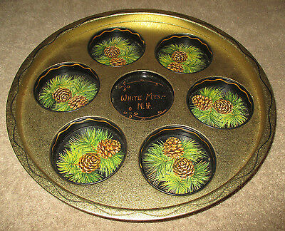 "11"" White Mountains, Nh Serving Platter Gold Black Pine Cones (CS36)"