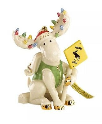 Lenox 2012 Merry Moose Crossing Moose Ornament New In Box First Quality Perfect