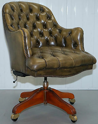 Aged Green Leather Regency Barrel Back Chesterfield Captains Directors Chair