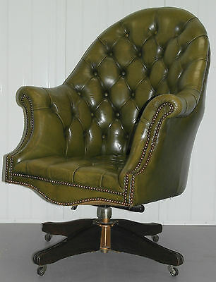 Stunning Vintage Chesterfield Aged Green Leather Directors Captains Chair