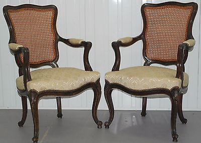 Pair Of Antique Carver Armchairs Upholstered Bottoms Berger Backs Four Available