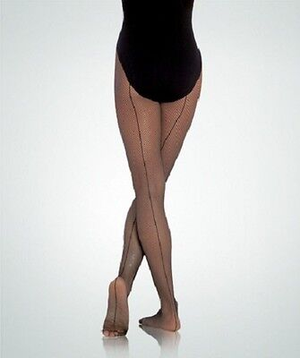 Body Wrappers A62 Women's S/M Black Total Stretch Fishnet Tights w/ Back Seam