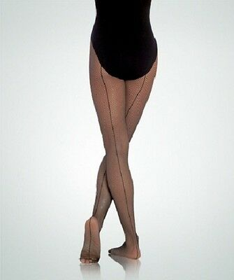 Body Wrappers A62 Women's L/XL Black Total Stretch Fishnet Tights w/ Back Seam