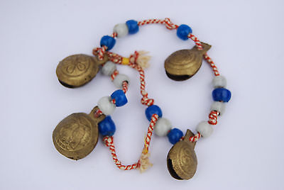 VINTAGE INDIA FOUR BRASS BELLS on cord with BEADS