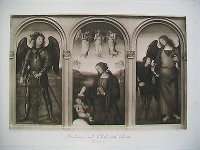 PERUGINO  Madonna and Child with Saints - 19th century engraving