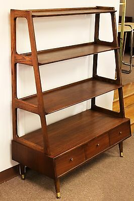 Mid Century Modern Saginaw Furn. Comp Walnut Shelving Unit Bookcase Danish Style