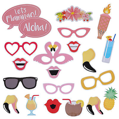 Pack of 21 Flamingo Photo Booth Props Tropical Halloween Hen Party Night Games