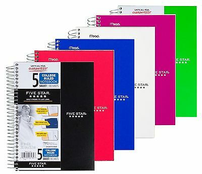 Five Star Spiral Notebook College Ruled 5 Subject 180 Sheets Assorted Colors