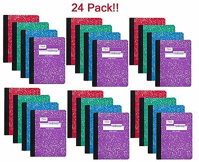 Mead 09918 Composition Book, 100 Sheets, Wide Ruled, Assorted Colors - 24-Pack