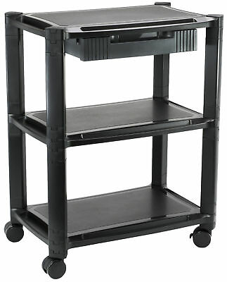 Height Adjustable Computer Cart Smart Stacked Rolling Stand and Storage Drawer