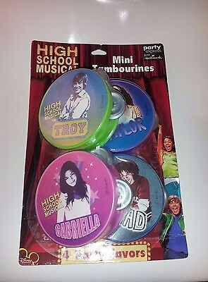 HIGH SCHOOL MUSICAL MINI TAMBOURINES 4 COUNT NEW in BOX Party Favors