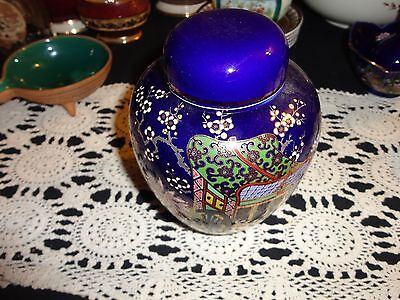 Vintage Cobalt Blue Wagon Gold Gilt Ginger Jar With Lid