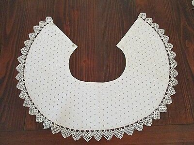 White Eyelet Collar Fancy Lace Border, fully lined, snaps & decorative buttons