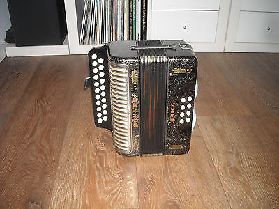 HOHNER ERICA C/F, Melodeon, silver-black pearl, very good CONDITION.