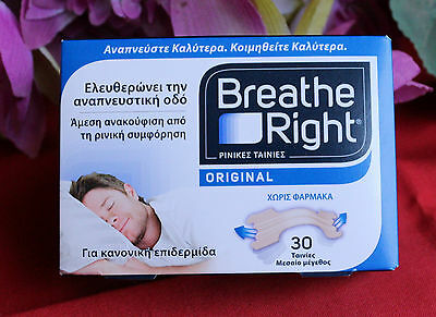 BREATH RIGHT original nasal strips 30-count package. Medium size.Normal skin.