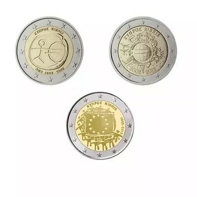 Cyprus 2 Euro All 3 Commemorative 2009, 2012, 2015 New BUNC from Roll