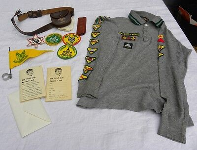 LOT 1960s WOLF CUBS & BOY SCOUTS Canada BELTS Scarf BADGES Cap FLAG Pouch CARDS