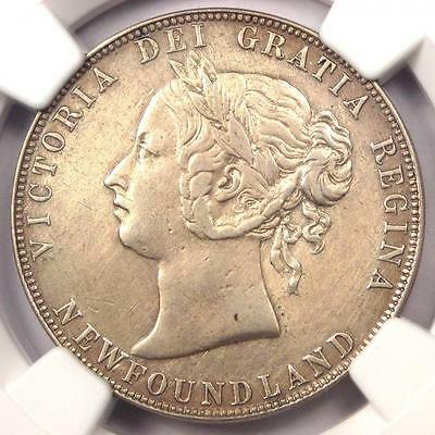 1885 Canada Newfoundland Victoria 50 Cent (50C, Half Dollar Coin) - NGC XF Dets
