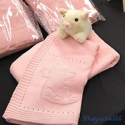 BABY PINK Knitted Blanket Pram or Cot size Size 100 x 85cm 100% Cotton BRAND NEW