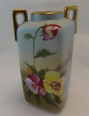 Nippon Hand painted Square Vase With yellow/ red Pansys - Wind Mill Scene Design