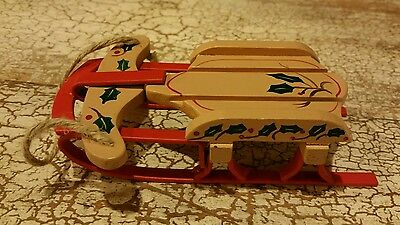 """Metal and Rein Material Sled Christmas Tree Ornament  5.5"""" EUC"""