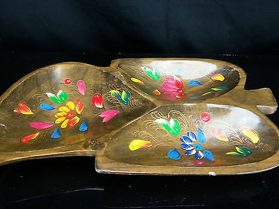Solid Wood Leaf-Shaped Divided Serving Plate Monkey Pod Wood Rare Hand Painted