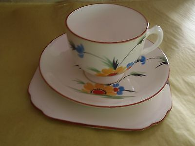 Vintage Tuscan Art Deco Trio (Cup Saucer Plate) 1930s Colourful English