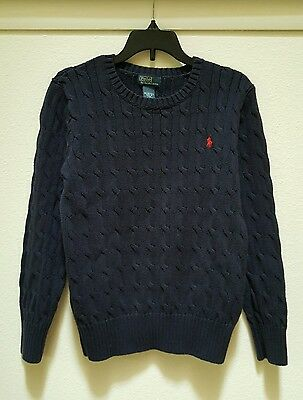 Polo by Ralph Lauren Kids Indigo Blue Cable Knit Sweater Size M (10-12)