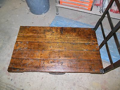 Beautiful Factory Cart Coffee Table Steampunk Antique Industrial Retro 27 X  45