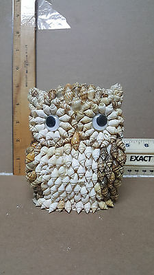 1980S Vintage Owl Figurine Made Of Tiny Seashells Philippines / New  !!