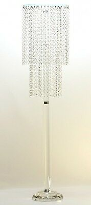 Tall clear crystal flower stand with double layered crystal beading (SKU: ZT121)