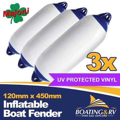 3 x Blue Tip Boat Fenders | 120 x 450mm Marine UV Resistant Quality Fenders