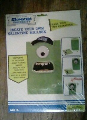 NIP Disney Pixar MONSTERS Create Your Own Valentine Mailbox & 32 Valentines Kit