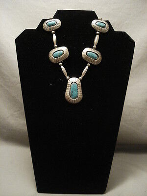 Early Museum Quality Vintage Navajo Turquoise Silver Necklace