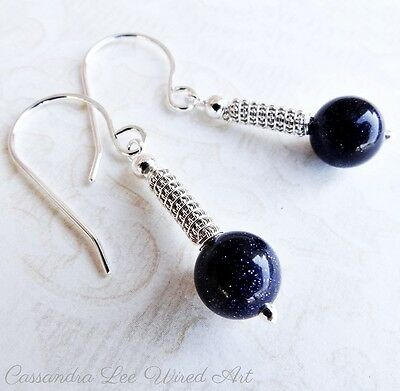 Sterling Silver Coiled Wire Wrap Blue Goldstone Earrings Australian Handcrafted