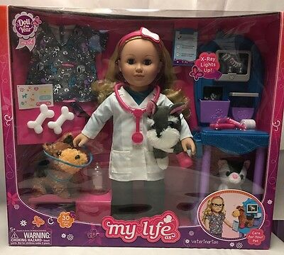 "Vet Doll My Life As 18"" Doll Of The Year Caucasian With Blonde Hair Play Set Toy"