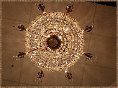 Exceptional Vintage Antique Solid Brass French Empire Basket Chandelier 20Light