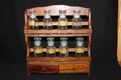 Vintage Wood Spice Rack with 2 Drawers & 8 Glass Spice Jars Kitchen Decor
