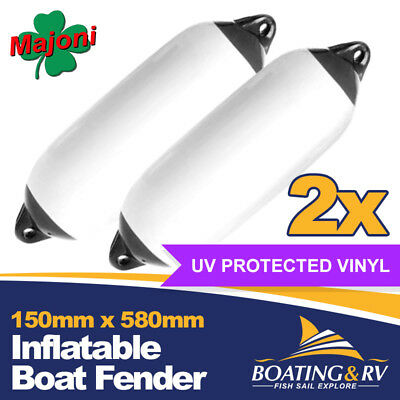 150 x 580mm Black Inflatable Boat Fenders | Set of 2 Quality Vinyl Dock Fenders
