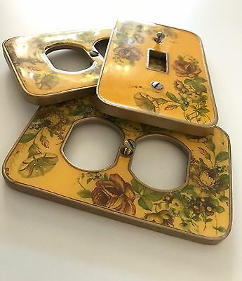 Vintage 3 light switch Plate Covers Yellow Floral metal enamel boho shabby